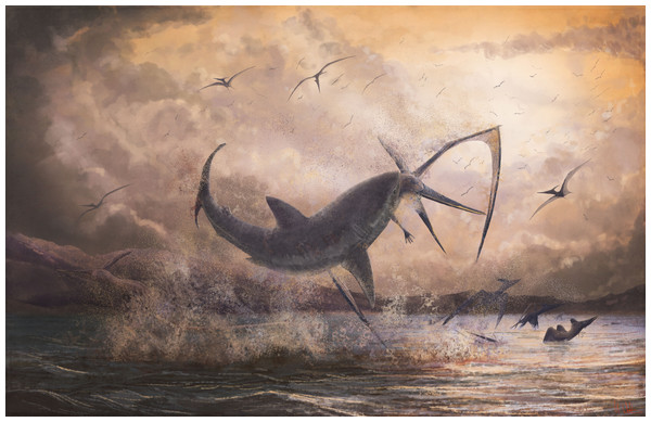 Restored scene of Cretoxyrhina attacking Pteranodon.