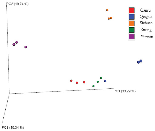 Principal coordinate analysis (PCoA) of bacteria genera based on the unweighted UniFrac distance among samples.