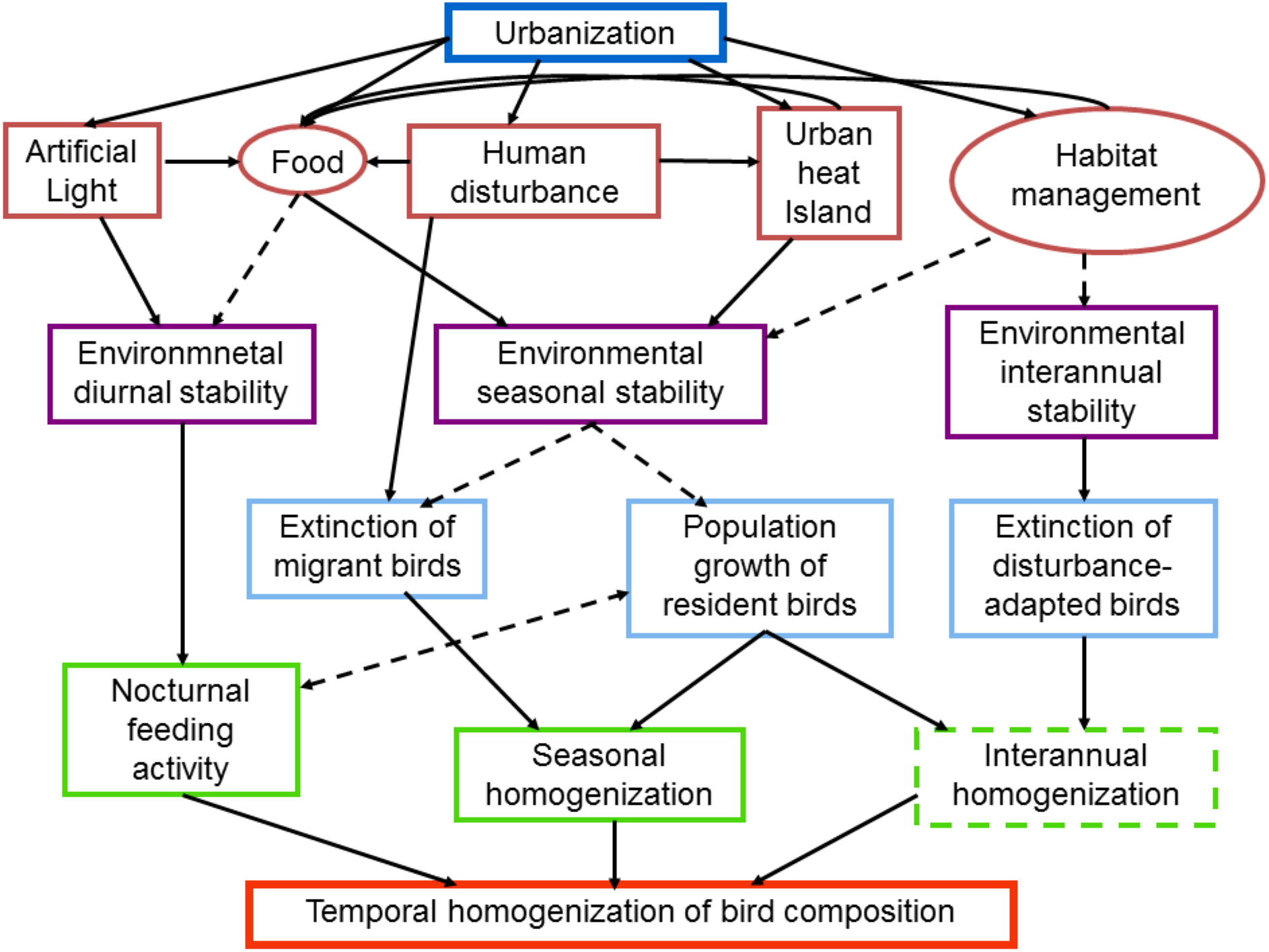 Urbanization, environmental stabilization and temporal