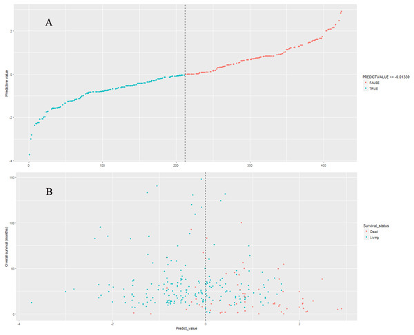 The distributions of nine-lncRNA prognostic signature (A), overall survival status and overall survival time (B) in validation cohort.