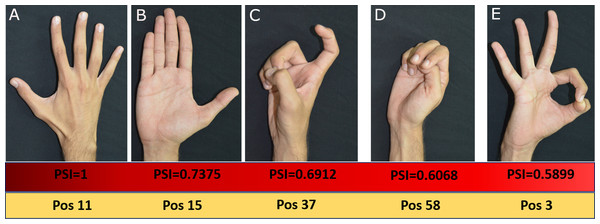 Top five Postures based on PSI values.
