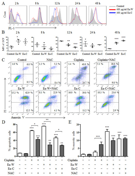 Intracellular ROS production and its role in the induction of apoptosis upon Ea-W and Ea-C treatment.