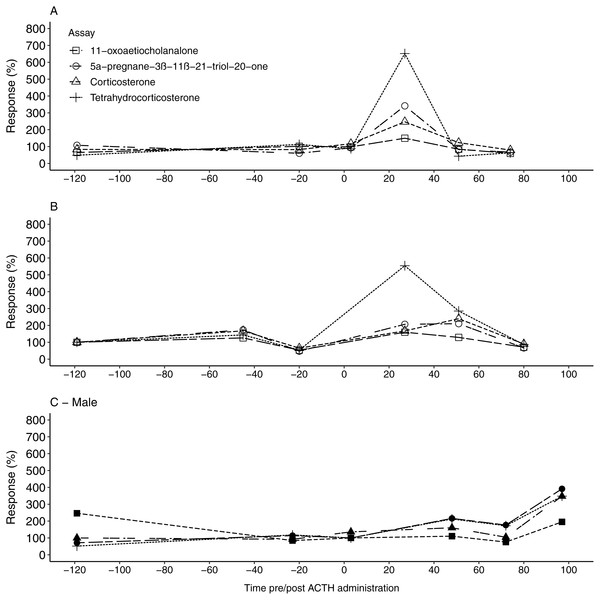 The urinary glucocorticoid metabolite response for all study animals following ACTH administration.