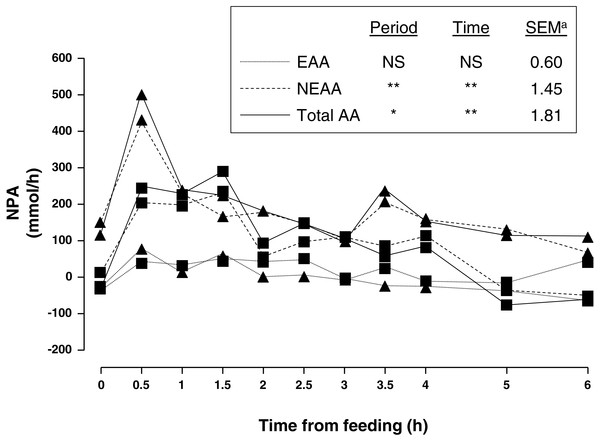 Net portal appearance (NPA) of essential (EAA), non-essential (NEAA) and total amino acids (AA) along a 6 h sampling in pigs (n = 6) fed acorns for 1 and 8 days (period 1 (■) and 2 (▴), respectively).