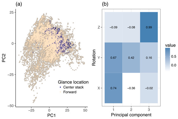 Principal component analysis (PCA) of dynamic data, using head rotation.