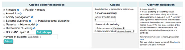 A partial snapshot of ClusterEnG user interface showing a choice of clustering algorithms and related options.