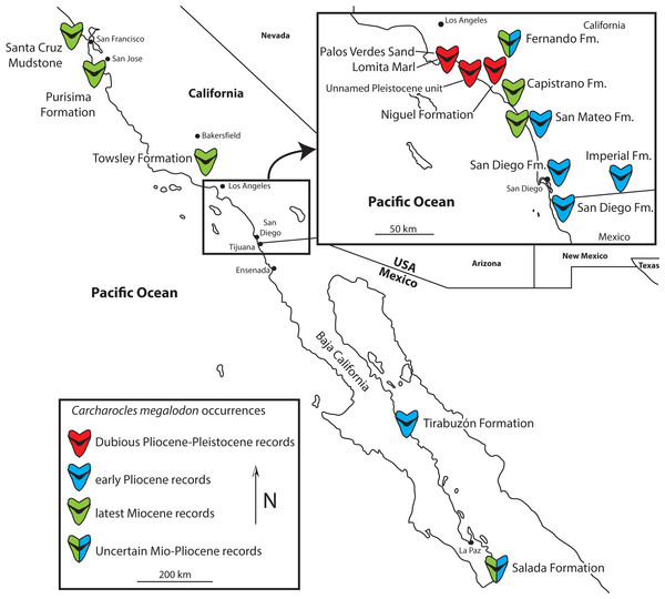 Map of California and Baja California showing genuine late Miocene and Early Pliocene records of Otodus megalodon, and dubious Late Pliocene and Pleistocene records.