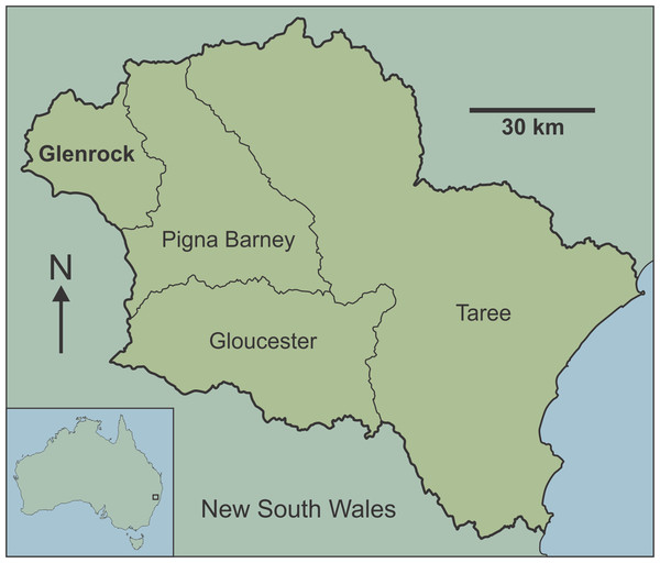 Map of Australia showing location of the Manning Karst Region and contained karst areas including Glenrock (following Smith, 2011a).