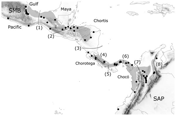 Geographic distribution of H. fleischmanni samples.