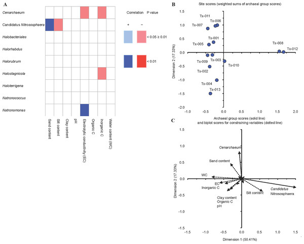 Correlations between soil characteristics and archaeal groups.