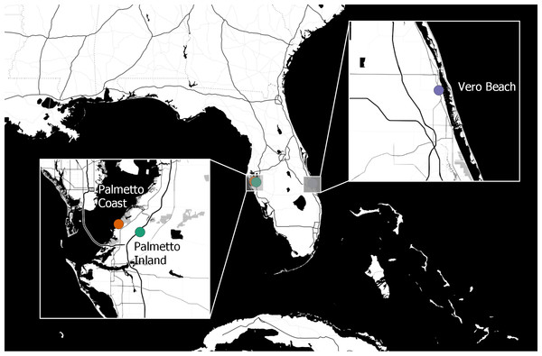 Geographic locations of Cx. nigripalpus mosquito sampling sites for microbiome study.