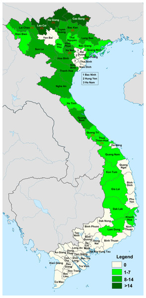Variation in Elatostema species richness and endemism across provinces of Vietnam.