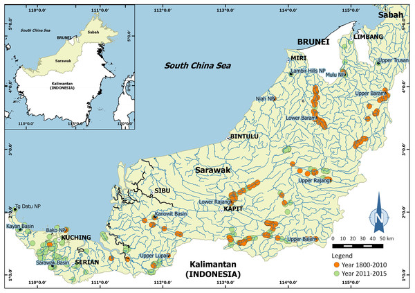 Map showing surveyed areas in Sarawak (Malaysia), Borneo between 1800 and 2015.
