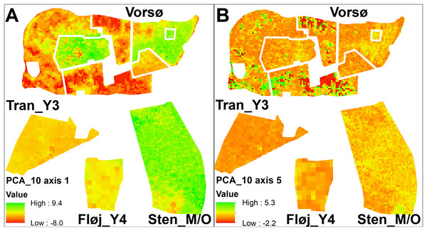 Maps of PCA values.