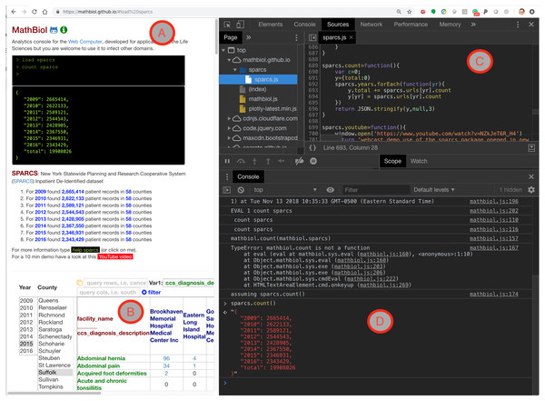 Snapshot of the SPARCS module loaded in Google Chrome Web browser with the developer tools open.