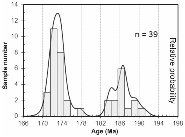 Probability curve based on the LA-ICP-MS data performed on zircons and monazites.