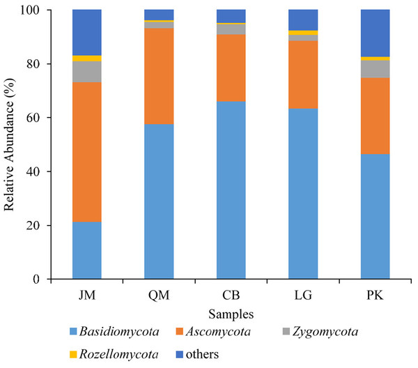 Relative abundance of fungus phyla present in five different revegetation types.