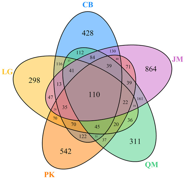 Venn diagrams of OUT richness.