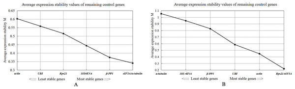 Gene expression stability measures M analysis of seven candidate reference genes under two experimental conditions of Radopholus similis.