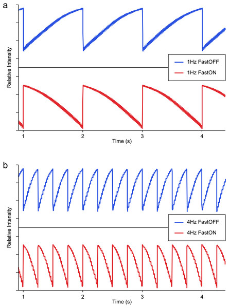 Light probe recordings of Fast ON/Slow OFF (Blue) and Fast OFF/Slow ON (Red) sawtooth flicker at a frequency of (A) 1 Hz, and (B) 4 Hz.