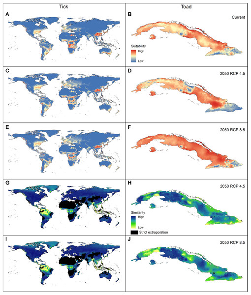 Geographic summary of the results of the analyses performed for the two example species.