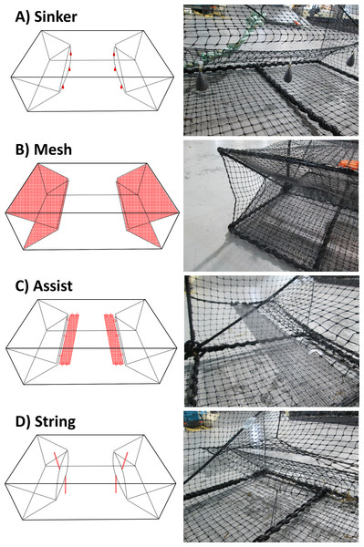 The four different trap modifications: sinker (A), mesh (B), assist (C), string (D).