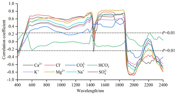 Correlation coefficients of soil water-soluble salt ions content with standard normal variable reflectance.