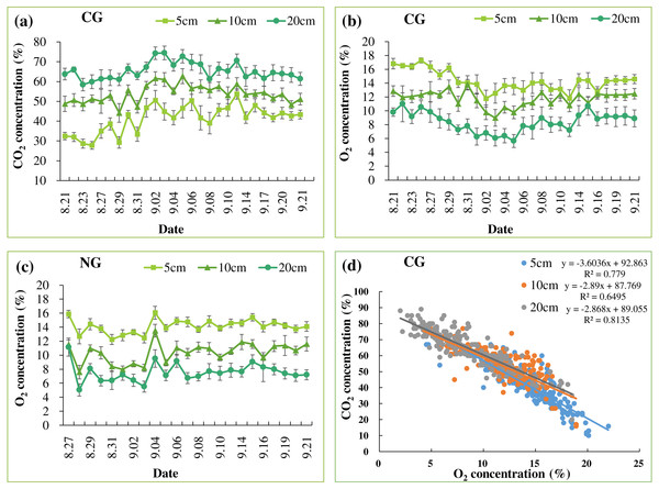 Mean soil CO2 (A) and O2 (B) concentrations in CG treatment. Mean soil O2 concentration in NG treatment (C). The relationship between soil CO2 and O2 concentrations in CG at each depth (n = 256) (D)