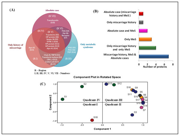 Venn diagram and PCA analysis of differentially expressed proteins.