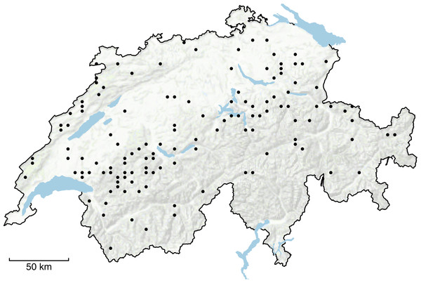 Distribution of the 129 study sites across Switzerland.