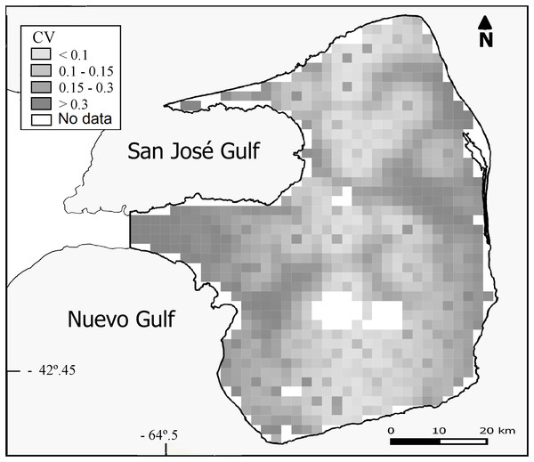 Uncertainty associated with the predicted abundance of D. patagonum per four km2 cell, in terms of the coefficient of variation (CV) of the estimate.