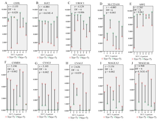 Differential expression profiles of SKGs in paired tumor and normal samples from the same HCC-A patients.