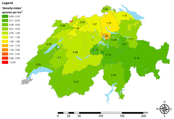 Apiary densities ('density-indices') on cantonal level.