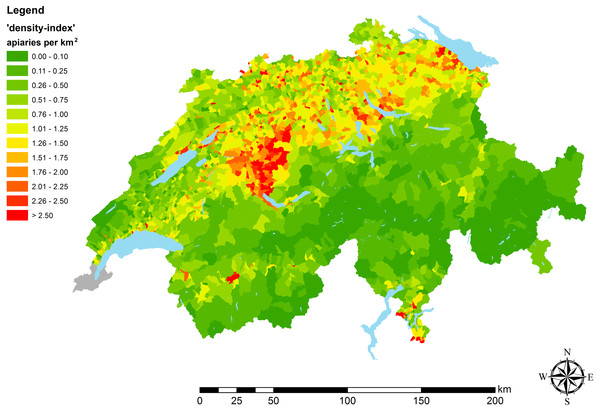 Apiary densities ('density-indices') on municipal level.