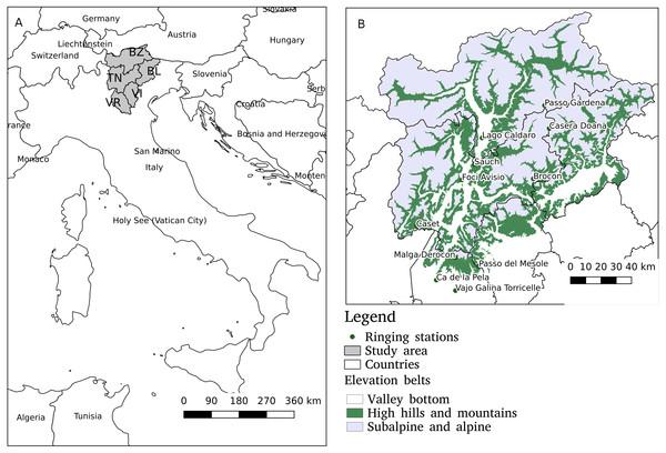 The study area encompasses five Provinces in NE Italy: BL, Belluno; BZ, Bolzano; TN, Trento; VR, Verona; and VI, Vicenza (A).