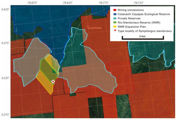 Map of Río Manduriacu Reserve (Imbabura province, Ecuador), with conservation plans and mining threats.