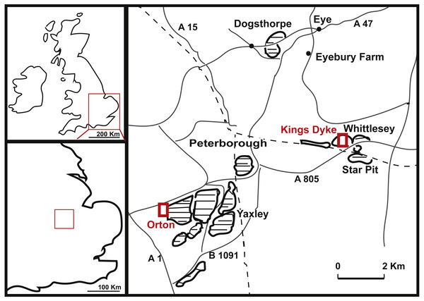 Geographical position of King's Dyke, Orton and Star Pit, Whittlesey, UK.