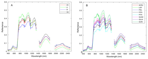 Average spectral signature of (A) all genera and (B) all species, colored by genera.