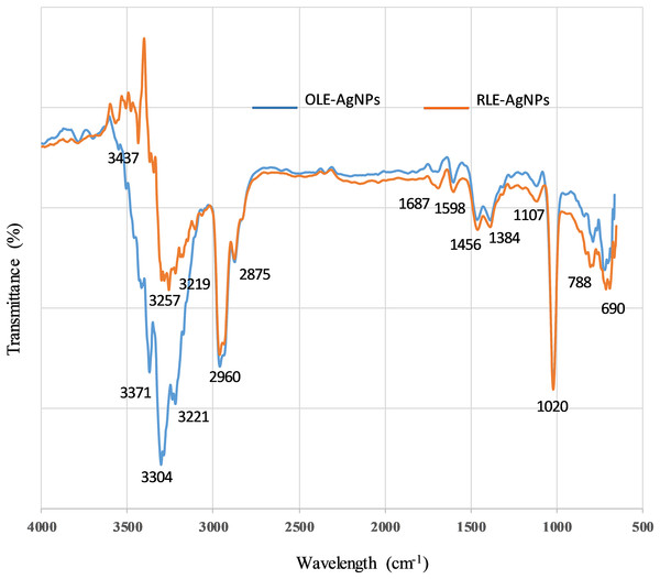 FTIR spectra of capped AgNPs with ______ OLE and with ______ RLE.