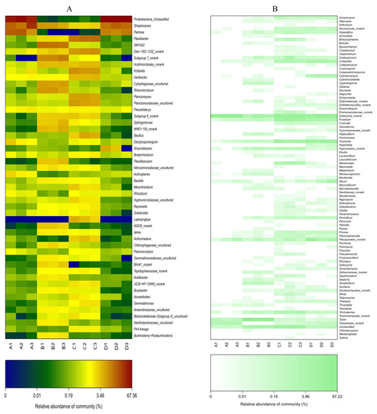 Heat-map analysis of the 50 most abundant bacterial (A) and fungal (B) genera in roots and soil communities of Q. acutissima.
