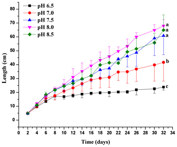 Effects of pH on the growth of C. valida.