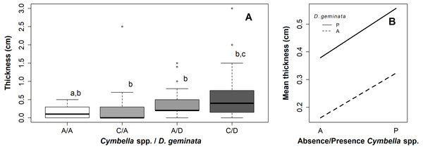 Graphs of the relationship between mat thickness and presence/absence of Cymbella spp. and D. geminata.