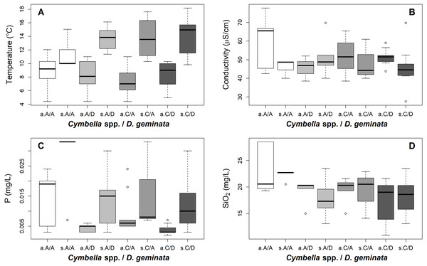 Boxplot of physical and chemical conditions per river reach sampled according to the presence/absence of D. geminata and Cymbella spp. and sampling season.