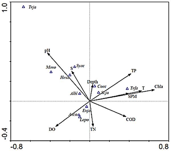 CCA biplot of ichthyoplankton species.