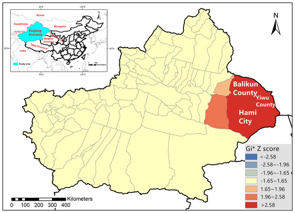 Location of Xinjiang Province on the map of China and bluetongue virus hotspot analysis in Xinjiang Province in 2012.