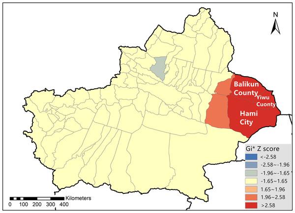 Bluetongue virus hotspot analysis in Xinjiang Province during 2014 and 2015.