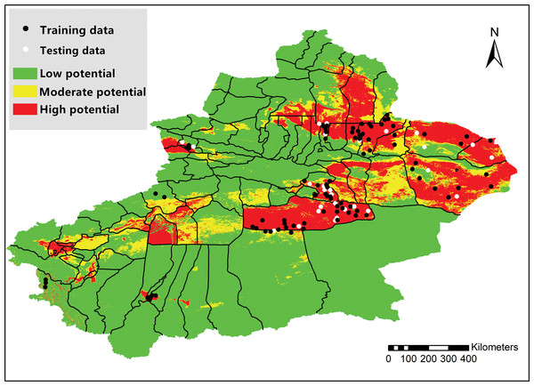 Map of Xinjiang Province showing high-risk areas for bluetongue virus occurrence.