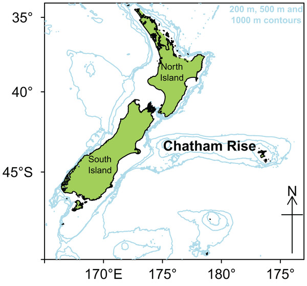 Map of New Zealand with Chatham Rise marked, including 200, 500, and 1,000 m isobaths.