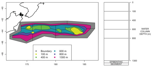 Polygons as defined for CRAM with maximum depths for each polygon shown by colour (left) and depth layer bins (right).