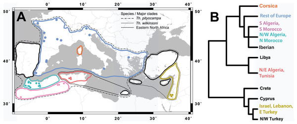 Location of the study sites in relation to the distribution of the pine processionary moth.